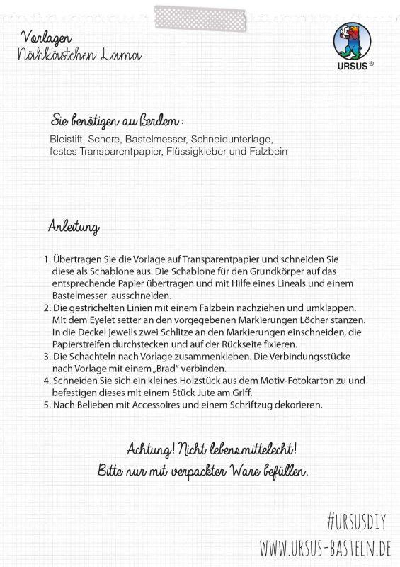 Bastelanleitung Nähkästchen Lama Seite 5
