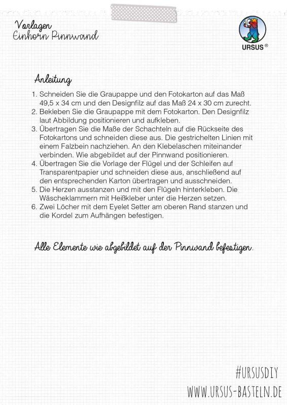 URSUS Bastelanleitung Pinnwand Einhorn Seite 5