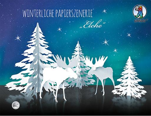URSUS Winterliche Papierszenerie Elche 17200001