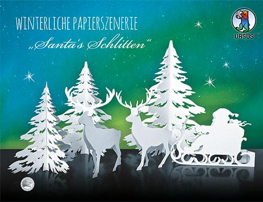 URSUS Winterliche Papierszenerie Santas Schlitten 17200002