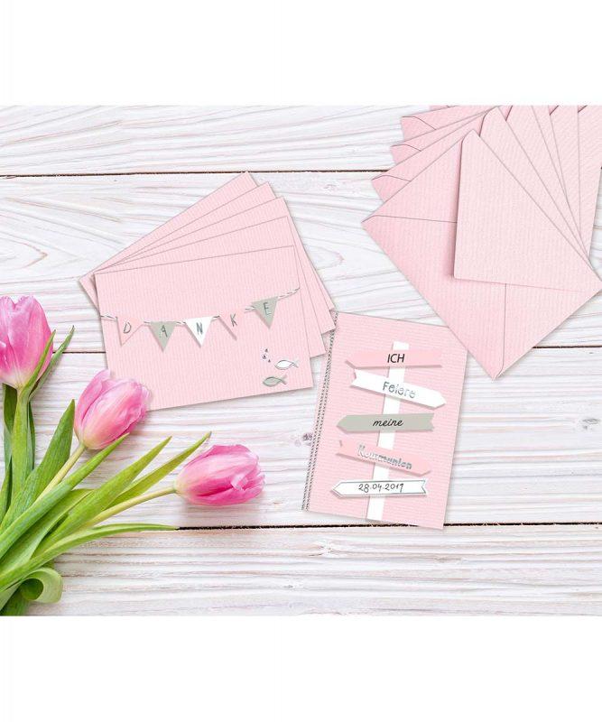 90260026 URSUS Einladungskarten mit Kuverts rosa