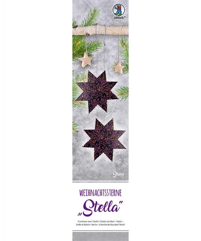 """Weihnachtssterne """"Stella"""" 33 Blatt """"Shiva"""", schwarz/lila/kupfer, 120 g/m² Art.-Nr.: 16170000"""