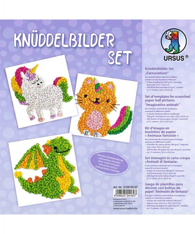 """Knüddelbilder Set 300 g/m² Set """"Fantasietiere"""" Art.-Nr.: 21290007"""