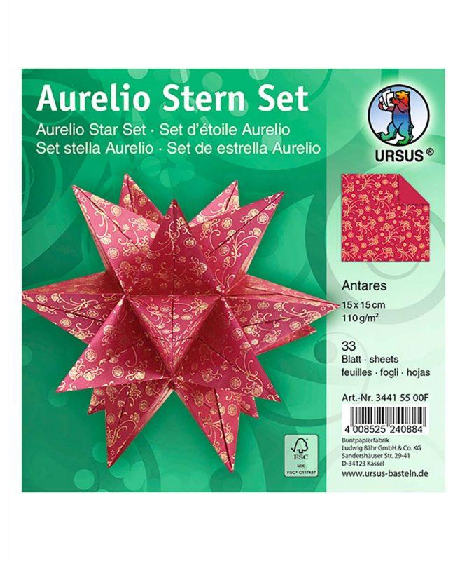"Faltblätter Aurelio Stern ""Antares"" 33 Blatt rot/gold, 110 g/m² Art.-Nr.: 34415500F"