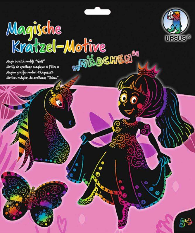 """Magische Kratzel-Motive 250 g/m, """"Mädchen"""", 6 Stanzteile, ca. 20 x 14 cm, mit Regenbogeneffekt Artikel Nr.: 24540001F"""
