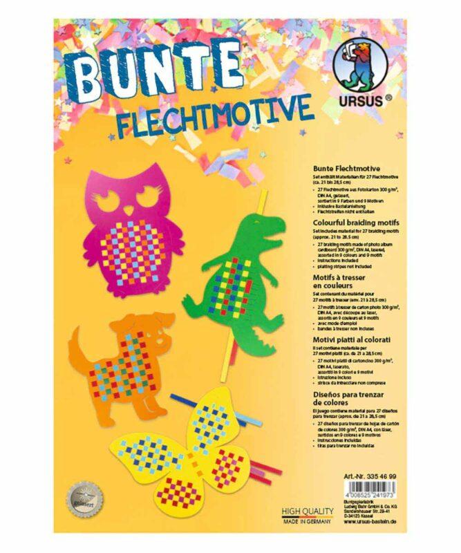 Bunte Flechtmotive 300 g/m², DIN A4, sortiert in 9 Motiven und Farben Artikel Nr.: 3354699