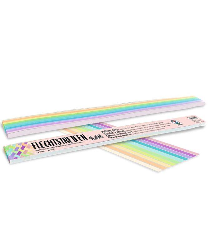 """Flechtstreifen 130 g/m2, """"Pastell"""", 1,0 x 50 cm, 200 Streifen sortiert in 10 Pastellfarben Artikel Nr.: 5690099"""