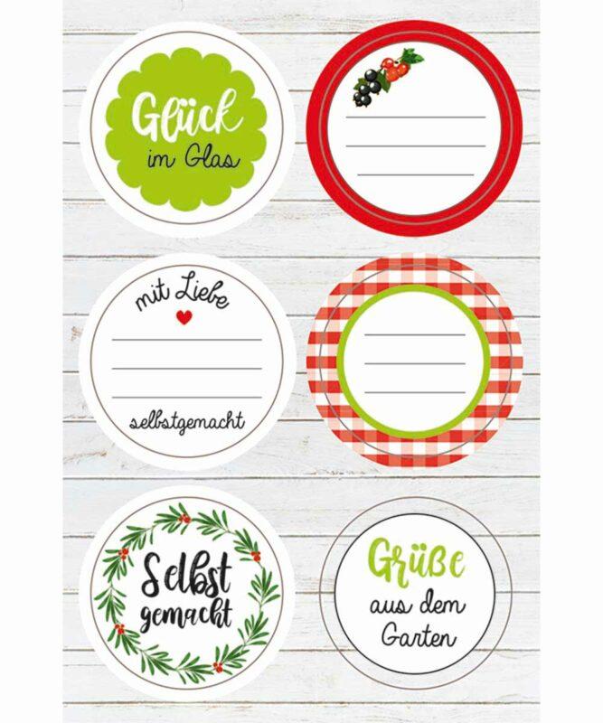 """Sticker """"Selbst gemacht"""", 24Stück in verschiedenen Farben und Motiven, Ø 4,7cm Artikel Nr.: 59520009F"""