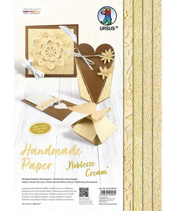 Noblesse Cream Handmade Paper 200 g/m², 23 x 33 cm, 8 Blatt sortiert in 4 Motiven Art.-Nr.: 61600001