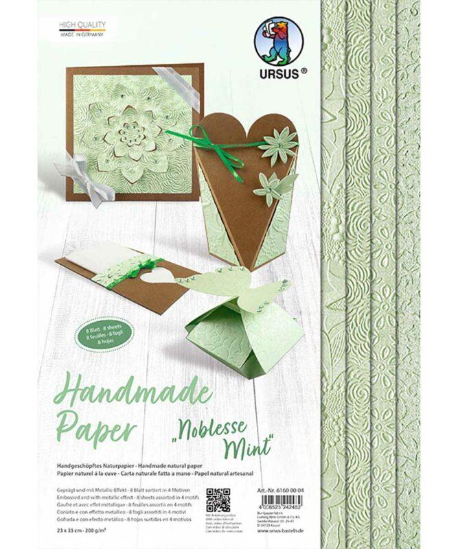Noblesse Mint Handmade Paper 200 g/m², 23 x 33 cm, 8 Blatt sortiert in 4 Motiven Art.-Nr.: 61600004