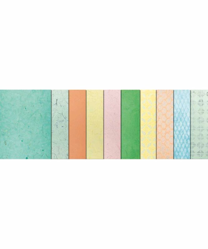 """Naturpapiere, """"Pastell"""", je 1 Blatt """"Bananenpapier"""" und """"Muschelpapier"""", je 4 Blatt """"Mikado"""" und """"Lace paper"""" Artikel Nr.: 61610001"""