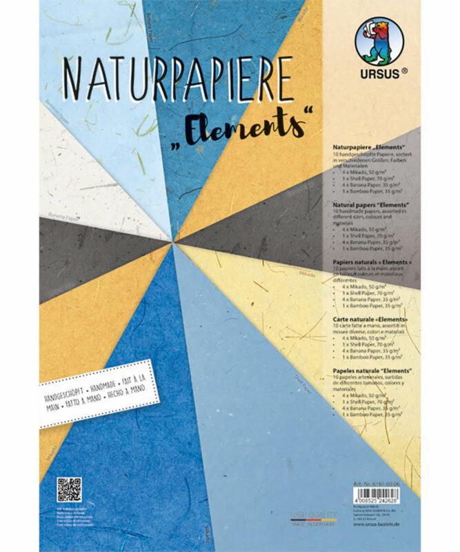 "Naturpapiere, ""Elements"", je 1 Blatt ""Muschelpapier"" und ""Bambuspapier"", je 4 Blatt ""Mikado"" und ""Bananenpapier"" Artikel Nr.: 61610006"