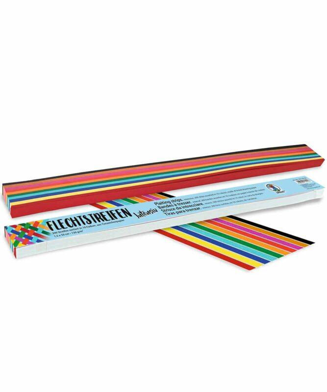 """Flechtstreifen 130 g/m2, """"Intensiv"""", 2,0 x 50 cm, 200 Streifen sortiert in 10 Farben Artikel Nr.: 6380099"""