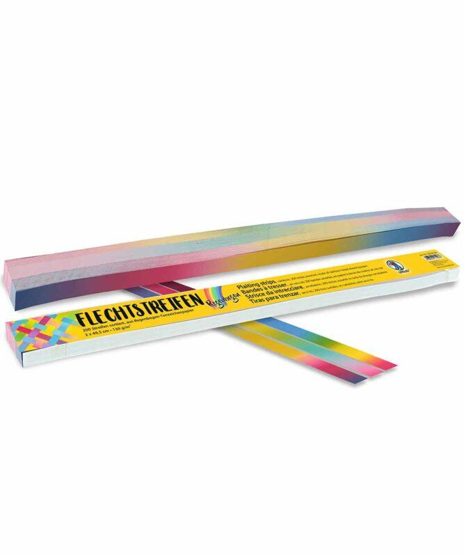 "Flechtstreifen 130 g/m2, ""Regenbogen"", 2,0 x 49,5 cm, 200 Streifen sortiert in verschiedenen Farbkombinationen Artikel Nr.: 6390099"