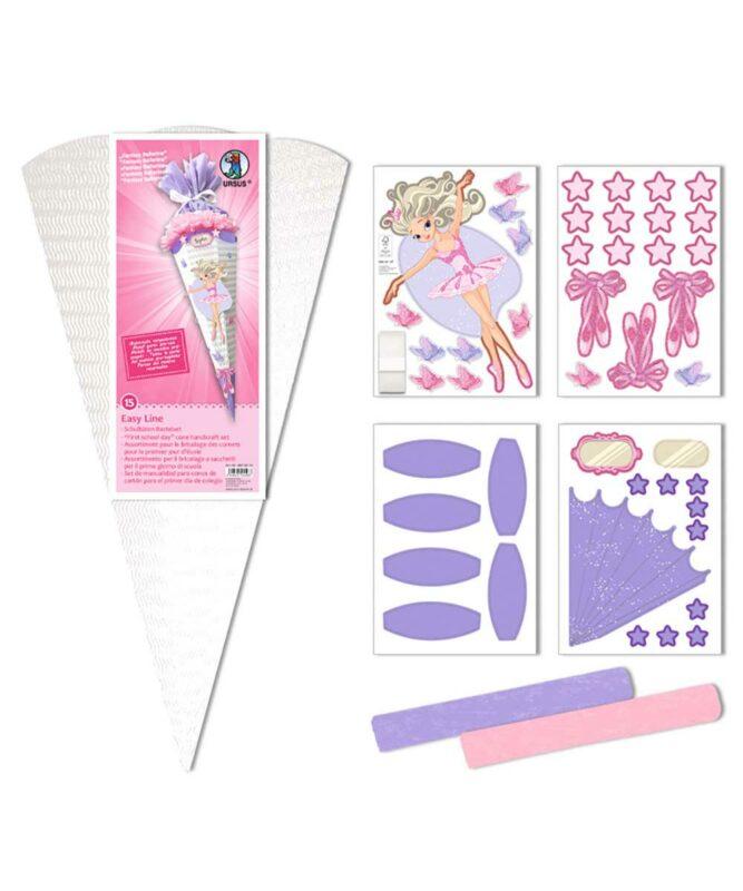 Fantasy Ballerina Schultüten-Bastelset Easy Line 260 g/m², 68 cm hoch, Ø 20 cm, alle Teile vorgestanzt Art.-Nr.: 9870015