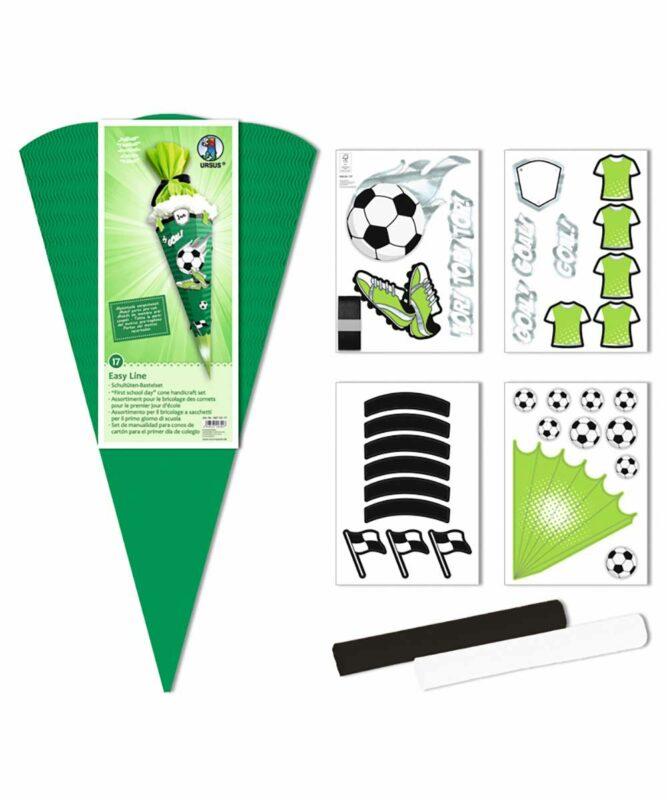 Fußball Schultüten-Bastelset Easy Line 260 g/m², 68 cm hoch, Ø 20 cm, alle Teile vorgestanzt Art.-Nr.: 9870017
