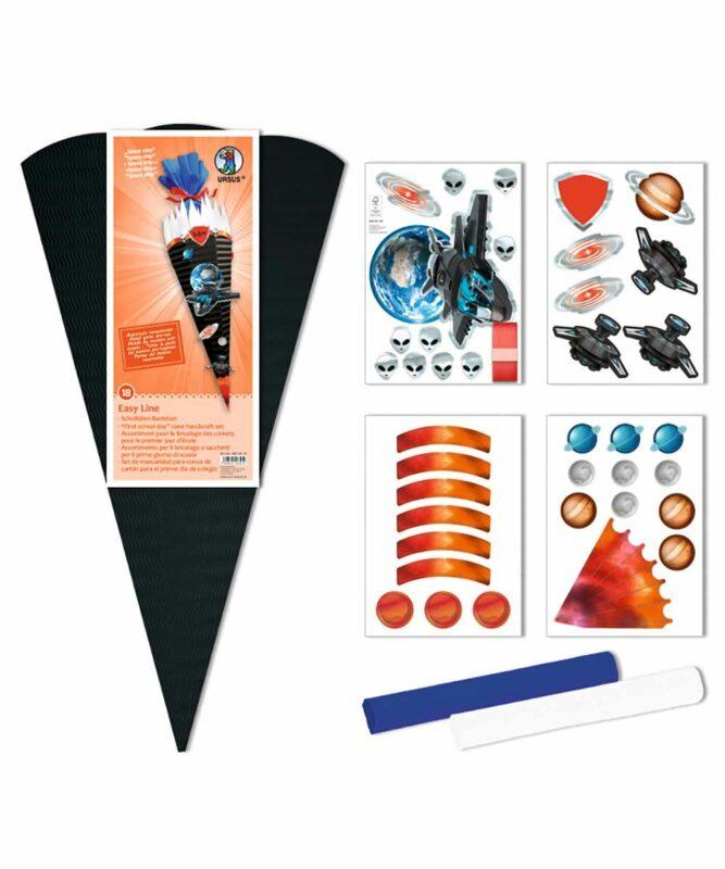 Spaceship Schultüten-Bastelset Easy Line 260 g/m², 68 cm hoch, Ø 20 cm, alle Teile vorgestanzt Art.-Nr.: 9870018