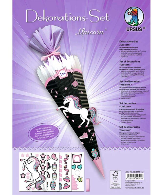 Unicorn Dekorations-Sets 350 g/m² DIN A4 Art.-Nr.: 9880016F