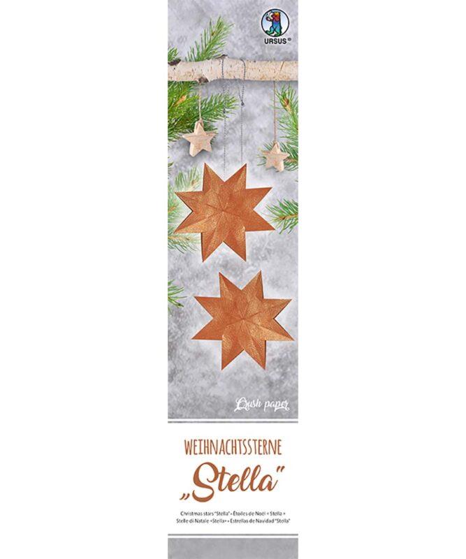 """Weihnachtssterne """"Stella"""", Set enthält Materialien für 4 Sterne Ø 30 cm, 33 Blatt 7 x 30 cm, """"Crush paper"""", einseitig glänzend mit Metalliceffekt kupfer, Rückseite rot bedruckt, inklusive Faltanleitung Artikel Nr.: 16150000"""
