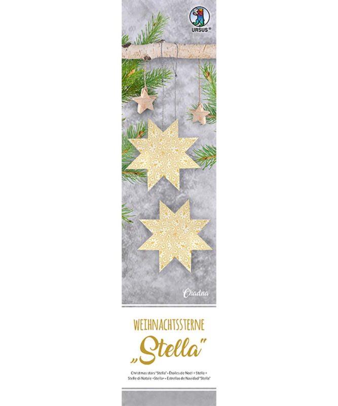 """Weihnachtssterne """"Stella"""", Set enthält Materialien für 4 Sterne Ø 30 cm, 33 Blatt 7 x 30 cm, """"Chadna"""", einseitig bedruckt weiß/creme, inklusive Faltanleitung Artikel Nr.: 16180000"""