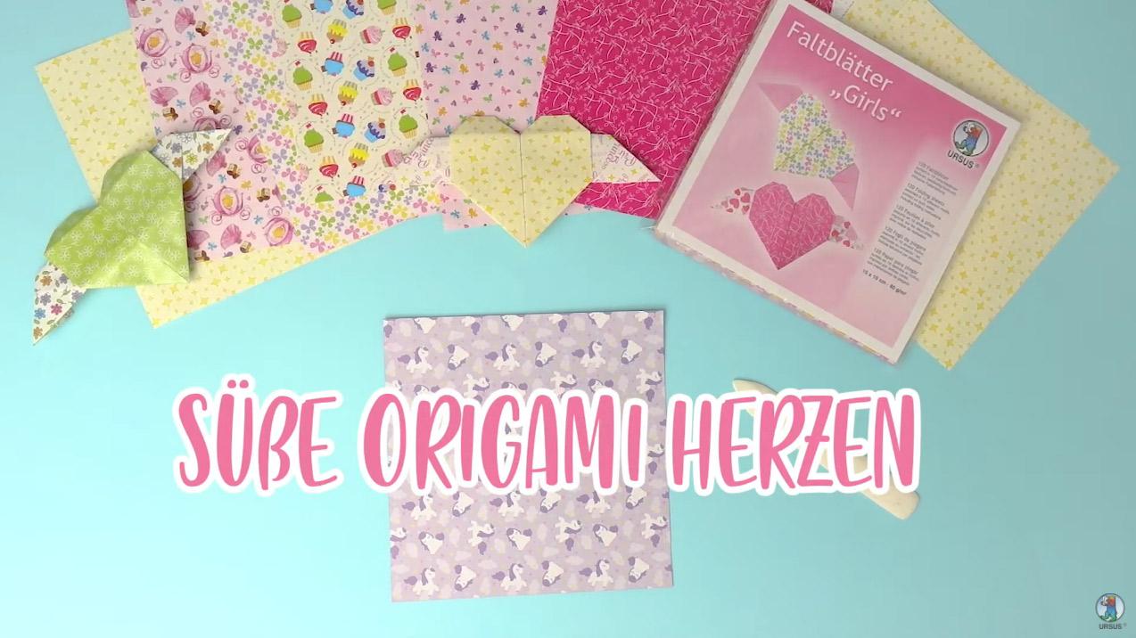 Origami Herzen aus Faltblättern