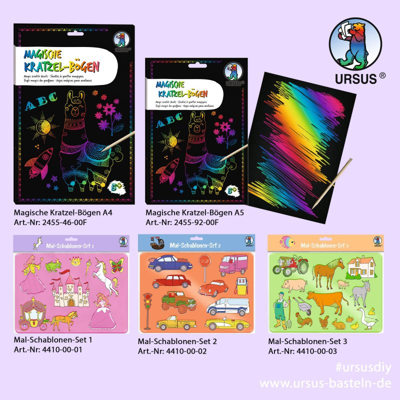 Magic scratching sheets and stencil sets