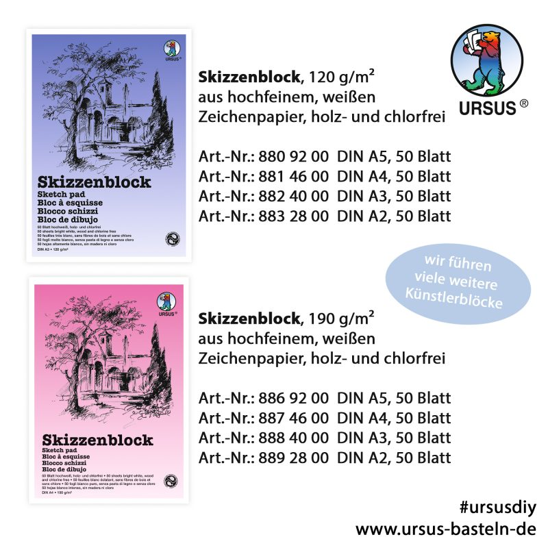 URSUS® Skizzenblock, 120g/m²