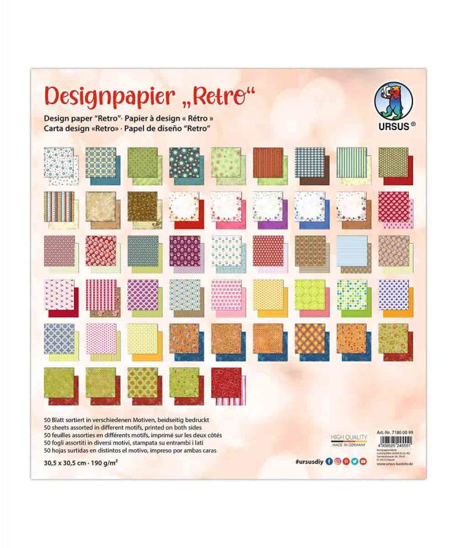 "Designpapier ""Retro"" 190 g/m2 30,5 x 30,5 cm, 50 Blatt sortiert in verschiedenen Motiven Art.Nr.: 71800099"