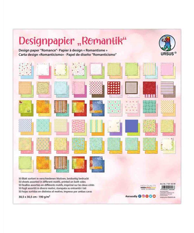 """Designpapier """"Romantik"""" 190 g/m2 30,5 x 30,5 cm, 50 Blatt sortiert in verschiedenen Motiven Art.-Nr.: 71810099"""