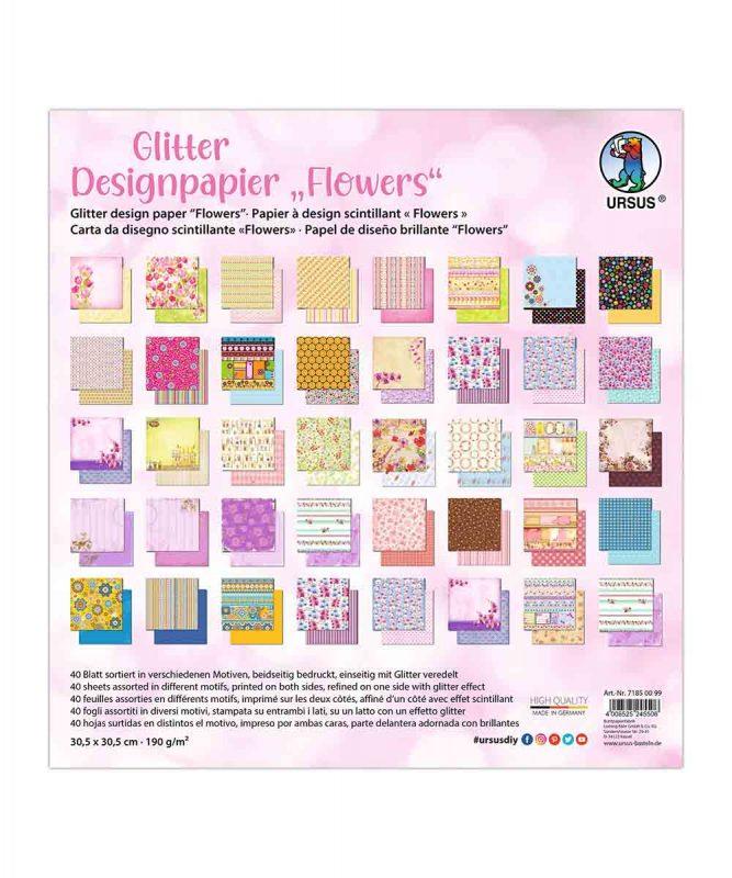 "Designpapier ""Flowers"" 190 g/m², 30,5 x 30,5 cm, 50 Blatt sortiert in verschiedenen Motiven Art.-Nr.: 71850099"