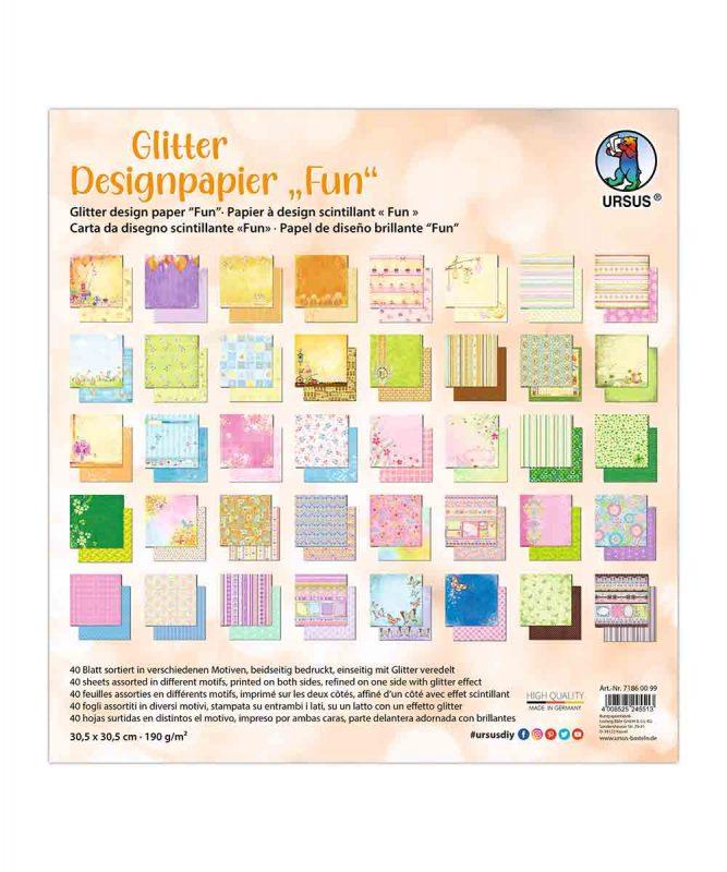 "Designpapier ""Fun"" 190 g/m², 30,5 x 30,5 cm, 50 Blatt sortiert in verschiedenen Motiven Art.-Nr.: 71860099"