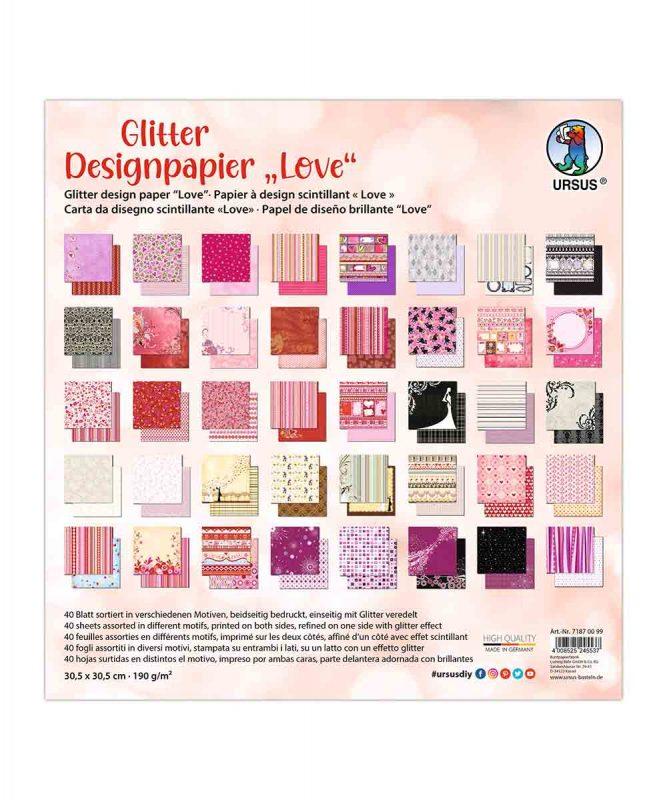 "Designpapier ""Love"""" 190 g/m², 30,5 x 30,5 cm, 50 Blatt sortiert in verschiedenen Motiven Art.-Nr.: 71870099"