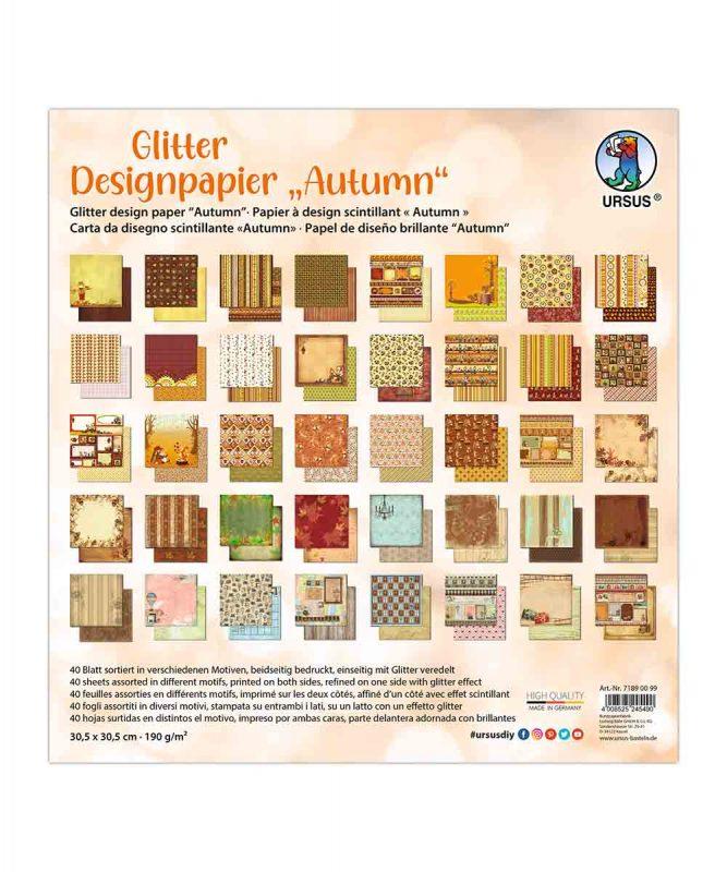 """Designpapier """"Autumn"""" 190 g/m², 30,5 x 30,5 cm, 50 Blatt sortiert in verschiedenen Motiven Art.-Nr.: 71890099"""