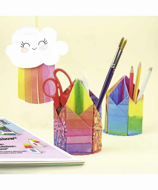 """Bastelblock """"Rainbow"""" 16 Blatt sortiert in 4 Motiven 300 g/m² Art.-Nr.: 12690011"""