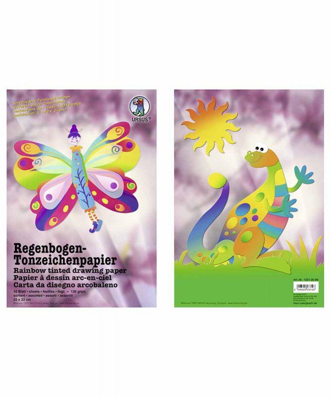 Regenbogen-Tonzeichenpapier 23,0 x 33,0 cm, 10 Blatt sortiert in verschiedenen Farbkombinationen, Bastelmappe 130 g/m² Art.-Nr.: 15210099