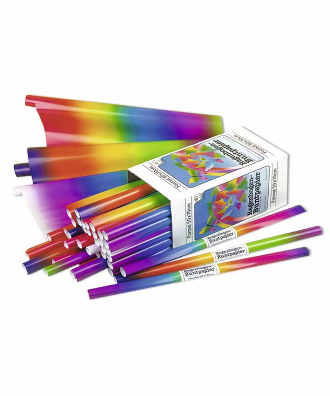 Regenbogen-Buntpapier 50 x 70 cm, sortiert in verschiedenen Farbkombinationen, Displaykarton 115 g/m² Art.-Nr.: 186009