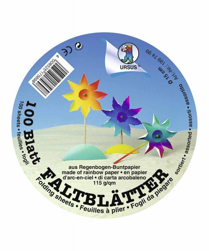 Regenbogen-Buntpapier-Faltblätter Ø 15 cm, 100 Blatt sortiert in verschiedenen Farbkombinationen 115 g/m² Art.-Nr.: 1997499