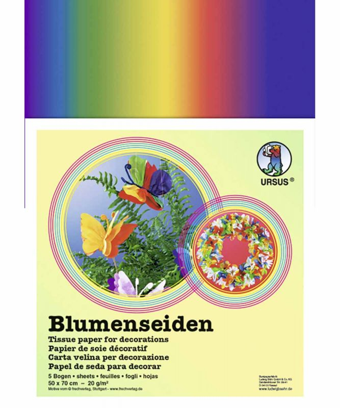 Regenbogen-Blumenseiden 50 x 70 cm, 1 x gefalzt, 25 Bogen in einer Farbkombination 20 g/m² Art.-Nr.: 4742299