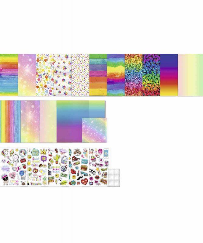 "Bastelset ""Regenbogen"" 26 Blatt sortiert in verschiedenen Materialien, Farben und Motiven, 50 Faltblätter, 113 Stanzteile, Klebepads Art.-Nr.: 7900099"