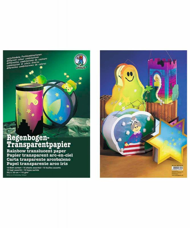 Regenbogen-Transparentpapier 20,5 x 33 cm, 10 Blatt sortiert in verschiedenen Farbkombinationen 115 g/m² Art.-Nr.: 8000099