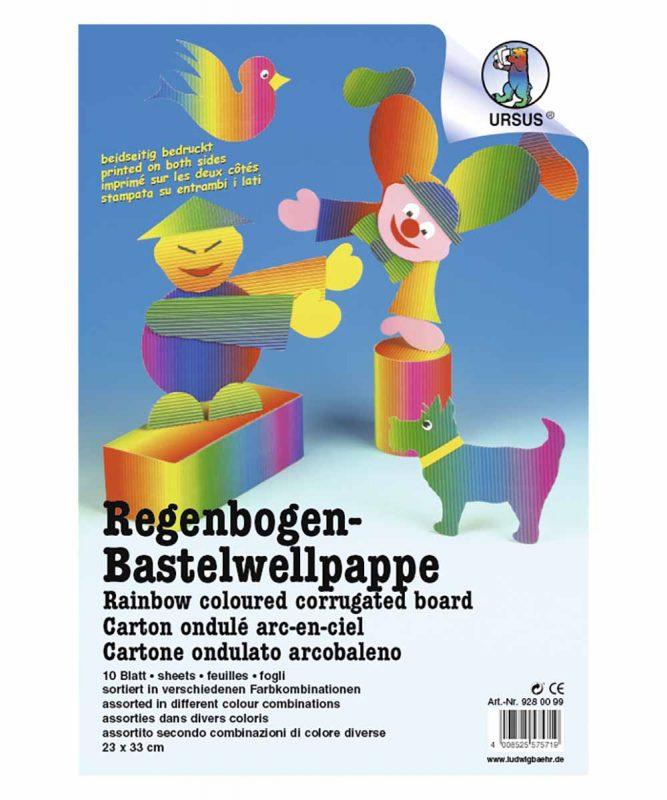 Regenbogen-Bastelwellpappe 23 x 33 cm, 10 Blatt sortiert in verschiedenen Farbkombinationen 260 g/m² Art.-Nr.: 9280099