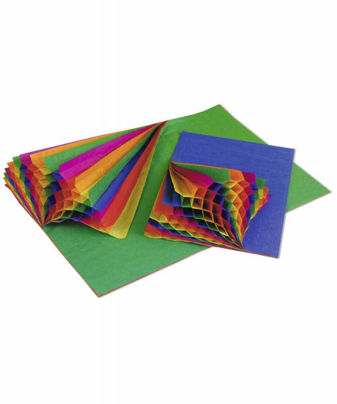 Regenbogen-Wabenpapier 34,5 x 49,5 cm, 5 Blatt in einer Farbkombination Art.-Nr.: 9983299