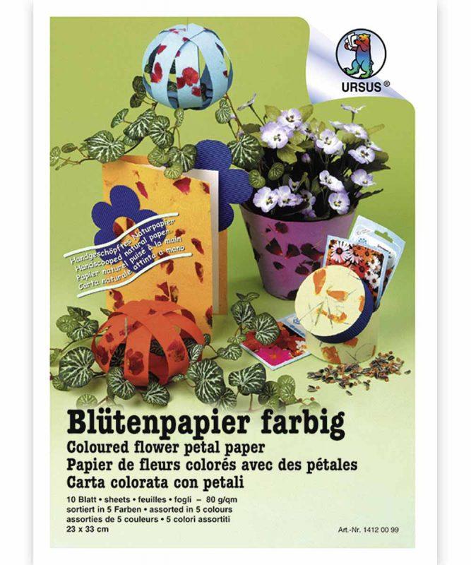 Blütenpapier farbig Handgeschöpftes Naturpapier, 80 g/m² 23 x 33 cm, 10 Blatt sortiert in 5 Farben, Bastelmappe Art.-Nr.: 14120099 50 x 70 cm, 10 Bogen sortiert in 5 Farben Art.-Nr.: 14142299