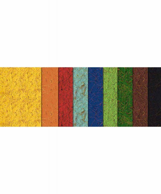 Kokospapier Handgeschöpftes Naturpapier aus Baumwolle, mit Kokosfasern, 250 g/m²50 x 70 cm, 10 Bogen sortiert in 9 Farben Art.-Nr.: 14222299