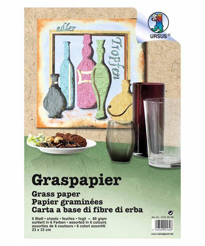 Graspapier Handgeschöpftes Naturpapier, mit Fasern vom Maulbeerbaum, 80 g/m² 23 x 33 cm, 6 Blatt sortiert in 6 Farben Art.-Nr.: 14310099