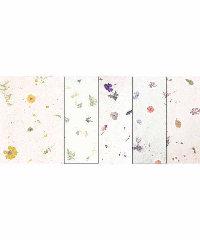 Naturpapier mit Blätter- und Blüteneinschlüssen, 35 g/m² 50 x 70 cm, 10 Bogen sortiert in 5 Designs Art.-Nr.: 14582299