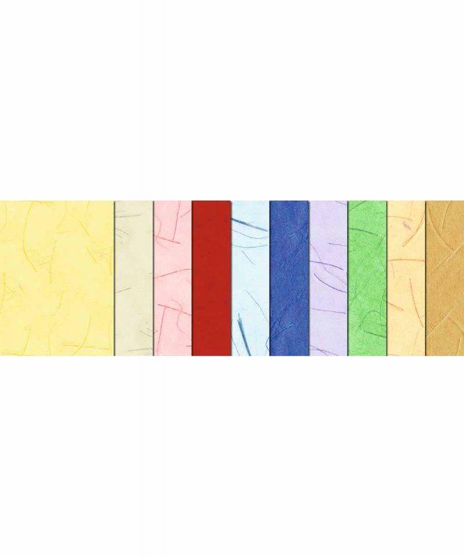 Mikado Handgeschöpftes Naturpapier, mit Fasern vom Bananenbaum, 50 g/m² 50 x 70 cm 23 x 33 cm, 10 Blatt sortiert in 10 Farben, Bastelmappe Art.-Nr.: 14700099 50 x 70 cm, 10 Bogen sortiert in 10 Farben Art.-Nr.: 14732299