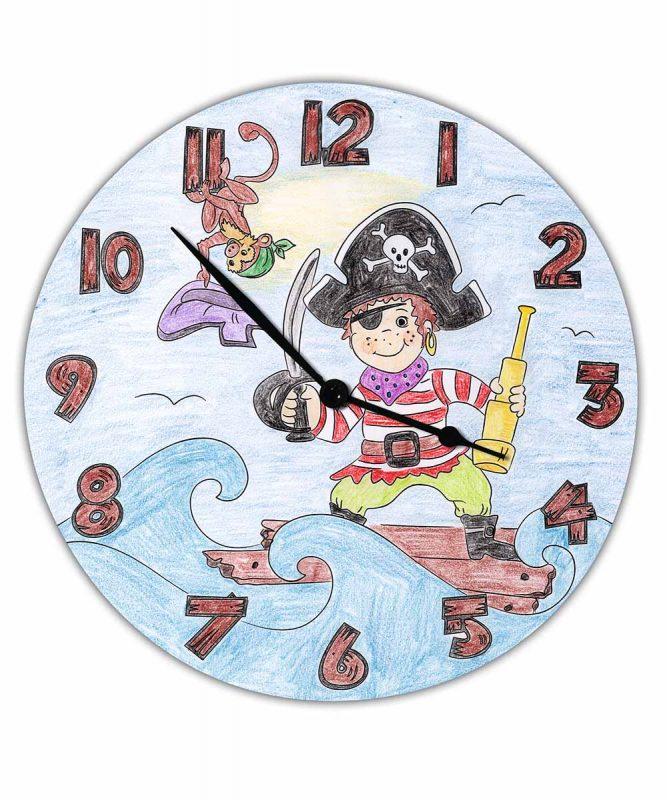 """Ausmal-Uhr """"Pirat"""", Ø 25 cm, zum Ausmalen Art.-Nr.: 24500000"""