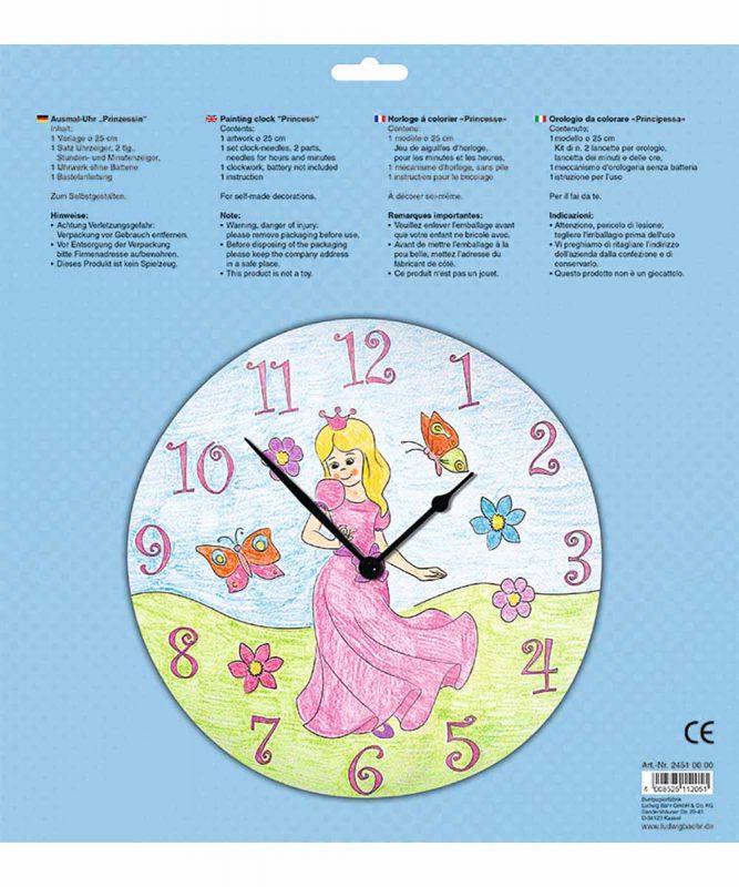 """Ausmal-Uhr """"Prinzessin"""", Ø 25 cm, zum Ausmalen Art.-Nr.: 24510000"""