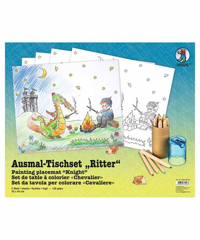 """Ausmal-Tischsets """"Ritter"""", 33 x 40 cm, 5 Blatt Art.-Nr.: 24610000"""